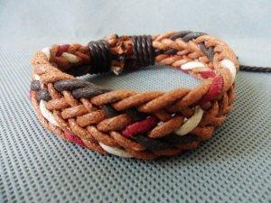 Adjustable black leather and Multicolour cotton ropes bracelet 21S