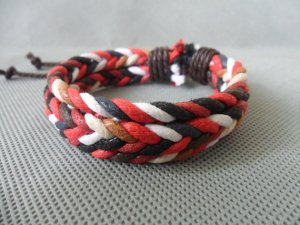 Adjustable black leather and Multicolour cotton ropes bracelet 22S