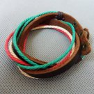 Adjustable black leather and Multicolour cotton ropes bracelet 24S
