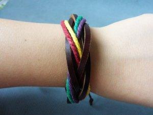 Adjustable black leather and Multicolour cotton ropes bracelet 27S