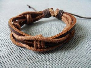 Adjustable black leather and Multicolour cotton ropes bracelet 29S