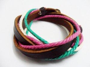 Adjustable black leather and Multicolour cotton ropes bracelet 31S