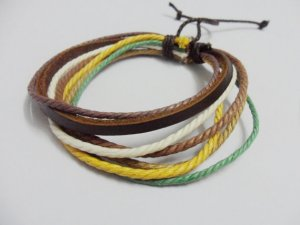 Adjustable black leather and Multicolour cotton ropes bracelet 33S