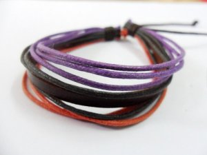 Adjustable black leather and Multicolour cotton ropes bracelet 35S