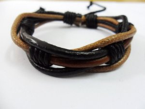 Adjustable leather and Multicolour cotton ropes bracelet 38S