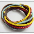 Adjustable leather and Multicolour cotton ropes bracelet 40S