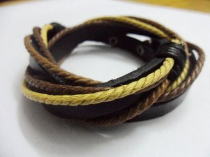 Adjustable leather and Multicolour cotton ropes bracelet 41S