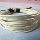 Adjustable leather and Multicolour cotton ropes bracelet 48S