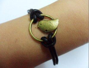 antique bronze retro style love bird adjustable bracelet 287S