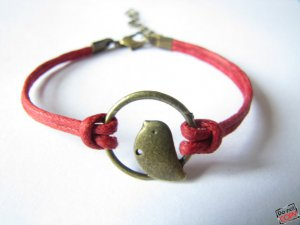 adjustable Red Hemp Ropes Bracelet antique bronze retro style Bird Bracelet Cuff Bracelet 448S
