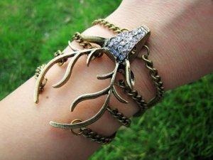 Vintage elk bracelet with crystals cuff bracelet crystal bracelet Vintage bracelet 457S