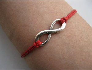 Red Ropes Steampunk Bracelet antique silver karma bracelet,Infinity Wish Bracelet 606S