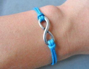 Blue Ropes Steampunk Bracelet antique silver karma bracelet,Infinity Wish Bracelet 605S