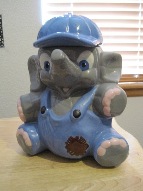 Ceramic Cookie Jar Elephant in Overalls hand-painted from the 80's