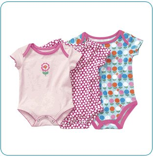 Tiny Tillia Pink Growing Bodysuit 3-Size Pack (3-9 months)