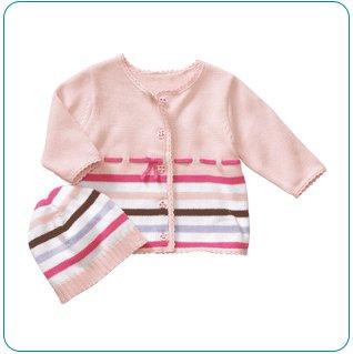 Tiny Tillia Pink Sweater + Hat Set (0-3 months)
