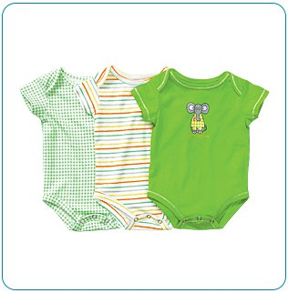 Tiny Tillia 3-Pack Single Size Green Bodysuit (6-9 months)