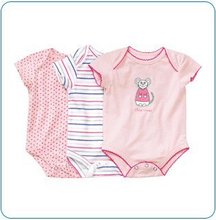 Tiny Tillia 3-Pack Pink Single-Size Bodysuit (0-3 months)