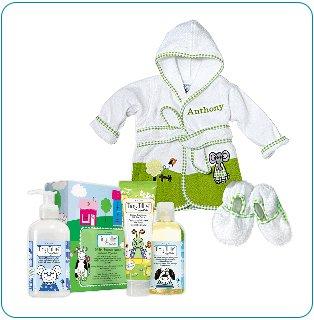 Tiny Tillia Green Bathtime Gift Bundle - Personalizable (0-9 Months)
