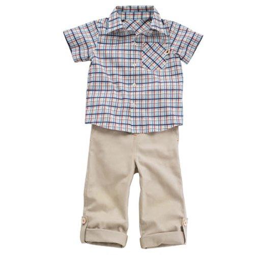 9-12 Months: Tiny Tillia Plaid Shirt with Convertible Khaki Playset