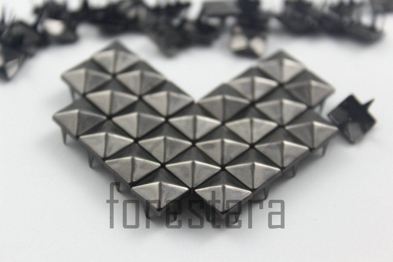 100 8mm Gunmetal Pyramid Studs DIY Studs Metal Studs Craft Studs Spike (GP08)