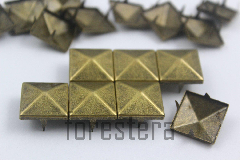 100 15mm Antique Brass Pyramid Studs DIY Studs Metal Studs Craft Studs Spike (BP15)