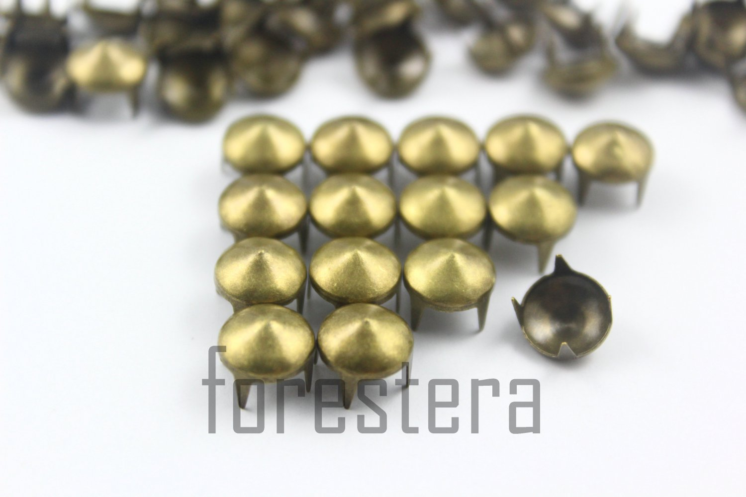 100 8mm Antique Brass Cone Conical Studs DIY Studs Metal Studs Craft Studs Spike (BC08)