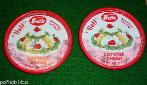 2 Country Belle Dairy Cottage Cheese Tin Lids Fluff Whipped Cream Pittsburgh Pa