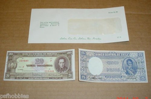 Bolivia 1945 20 Bolivianos Chile 5 Pesos 1940's Uncirculated Crisp Bank Notes