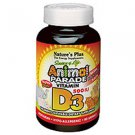 Natures Plus Animal Parade Vitamin D3 500 IU Children's Chewable - Natural Black Cherry Flavour