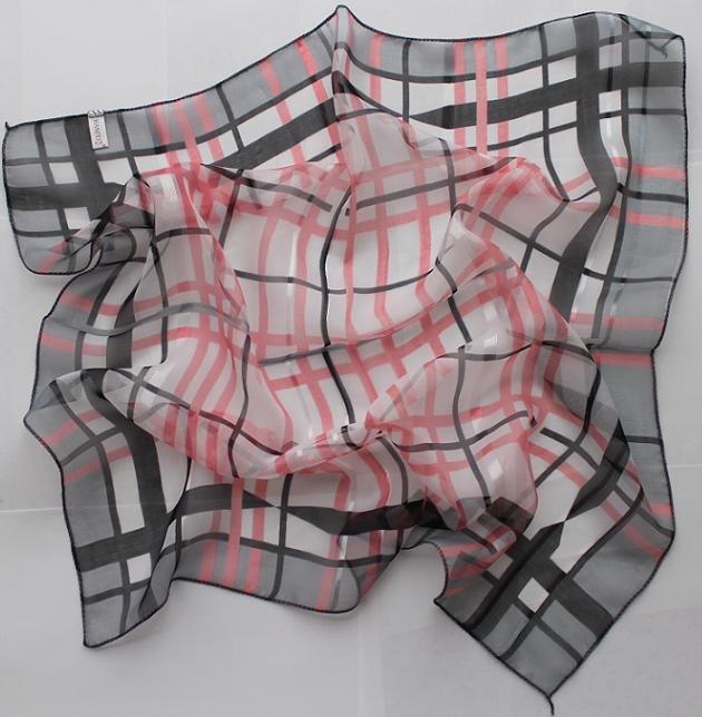 "Gift 20"" Square Neck head Scarf Wrap Checkered Stripes - 1 uneven border"