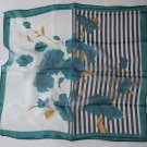 "20"" Square Neck head Scarf Wrap Teal Flowers Stripes + defects"