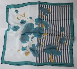 """20"""" Square Neck head Scarf Wrap Teal Flowers Stripes + defects"""