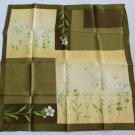 "Gift 20"" Neck Head Scarf Wrap Kerchief Bandana White Flowers Green leaves"
