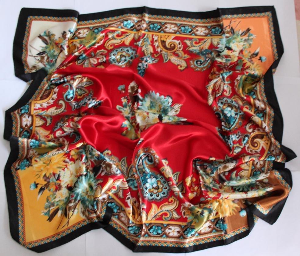 "Sold Out: Gift 35"" Silk like Scarf Wrap Bandana Kerchief Flowers"