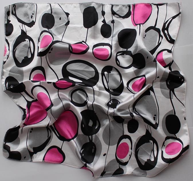"Gift 20"" Neck head Scarf Wrap Circles Black Pink FAST SHIPPING"