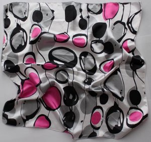 """Gift 20"""" Neck head Scarf Wrap Circles Black Pink FAST SHIPPING"""