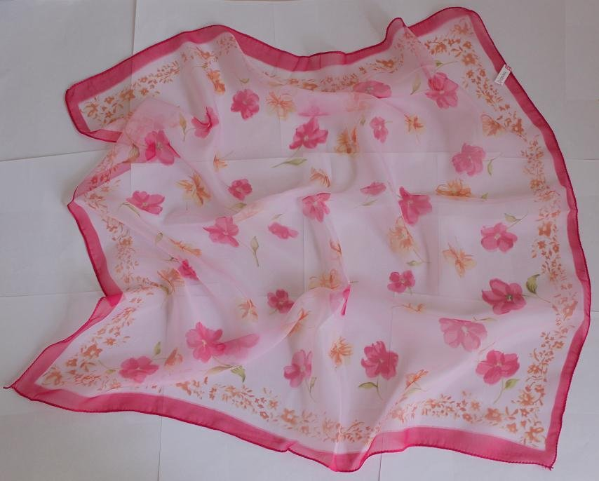 """Sold Out: 24"""" Chiffon Silk Neck Head Scarf Wrap Small Red Flowers - must read details"""