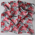 "Gift 20"" Silk Imitation Scarf Wrap Gray Red flowers - must read details"