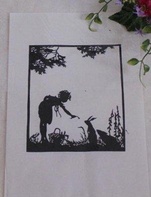 papercut paper-cuts silhouette art Girl feeding rabbits