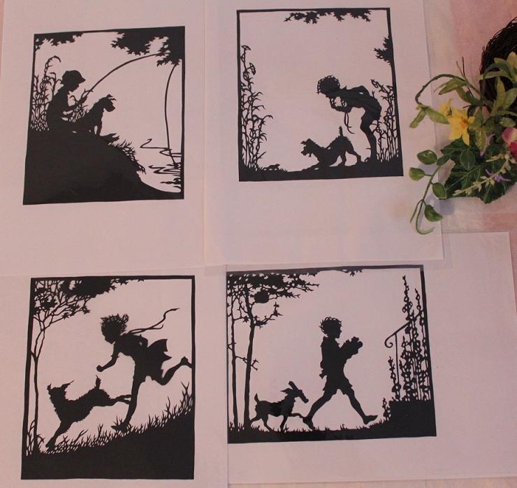 papercut paper-cuts silhouette art Childhood 4pcs
