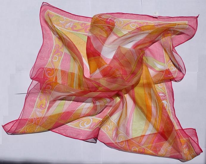 """24"""" Chiffon Silk Neck Head Scarf Wrap Stripes with defects - must read details about defects"""