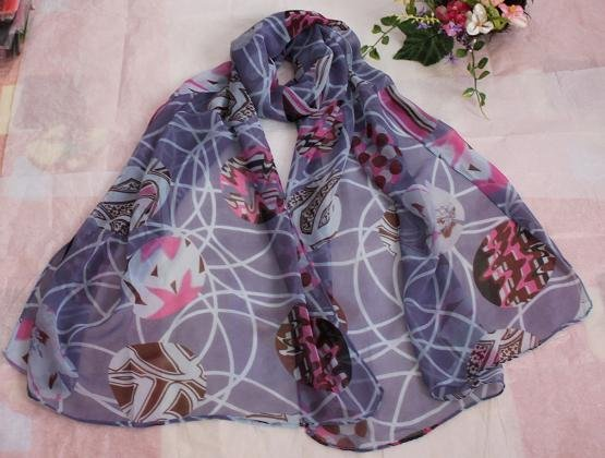 Gift Silk Like Chiffon Oblong Scarf Blue Brown Floral
