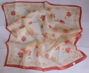"""24"""" Square Neck Head Scarf Wrap Mahogany Lovely Flowers"""