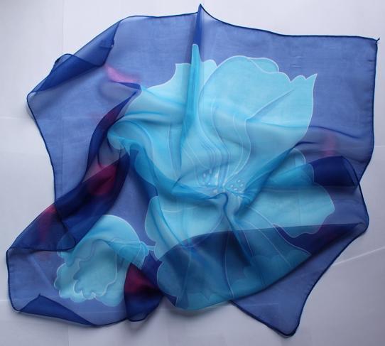 "Gift 24"" Chiffon Silk Neck Head Scarf Wrap Blues - must read details"