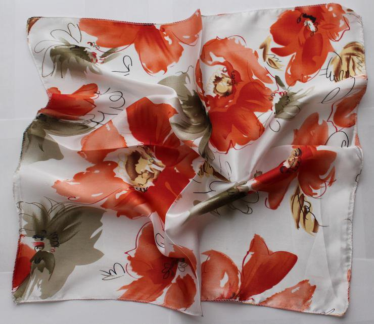 "21"" Neck head Scarf Wrap Red Flower Olive leaf Gorgeous"