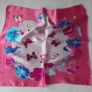 """Gift 20"""" Square Neck head Scarf Wrap Pink Lotus Butterflies"""