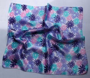 """Gift 20"""" Square Neck head Scarf Wrap Pink Blue Flowers"""