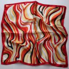 "Gift 20"" Square Neck Head Scarf Wrap Waves Exotic - with obvious defects"