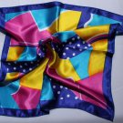 "Gift 20"" Square Neck Head Scarf Wrap Blue Yellow"
